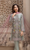 Embroidered Chiffon Front Embroidered Chiffon Side Panels Embroidered Chiffon Back Embroidered Chiffon Sleeves Embroidered Net Dupatta Embroidered Front, Back, Sleeves Borders Dyed Raw Silk Trouser