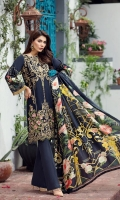 Embroidered Lawn Front Digital Printed Back Digital Printed Sleeves Embroidered Front Border Patch Embroidered Back Border Patch Digital Printed Medium Silk Dupatta Dyed Trouser