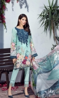 Digital Printed Lawn Front Digital Printed Lawn Back Digital Printed Sleeves Embroidered Neck Patch Embroidered Front Border Patch Digital Printed Tissue Silk Dupatta Dyed Trouser