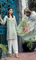 Embroidered Lawn Front Digital Printed Back Digital Printed Sleeves Digital Printed Tissue Silk Dupatta Dyed Trouser