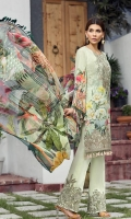 Digital Printed Lawn Front Digital Printed Back Digital Printed Sleeves Embroidered Neck Patch Embroidered Front Border Patch Embroidered Trouser Patch Digital Printed Pure Chiffon Dupatta Dyed Trouser