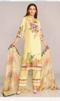 Digital Printed & Embroidered Swiss Shirt  With Digital Printed & Embroidered Chiffon Dupatta Plain Cotton Trouser