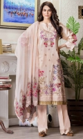 Embroidered Dobby Jacquard Lawn Shirt With Embroidered Bamber Chiffon Dupatta Embroidered Cotton Trouser