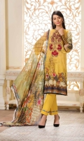 3 Piece Suit Digital Printed & Embroidered Swiss Shirt With Digital Printed Bamber Chiffon Dupatta Plain / Embroidered Cotton Trouser