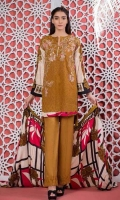 Print & Embroidered Soft Chikankaari Linen Shirt With Printed Linen Twill Dupatta Plain Linen Trouser