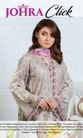 Embroidered Chikankaari Lawn Shirt With Digital Printed Bamber Chiffon Dupatta Plain Cotton Trouser