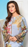 Printed & Embroidered Viscose Shirt With Printed Chiffon Dupatta Plain Viscose Trouser