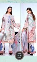 Digital Print & Embroidered Chikankaari Lawn Shirt With Digital Printed Bamber Chiffon Dupatta Plain Cotton Trouser