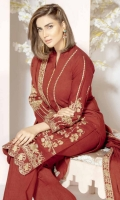 Embroidered Leather Peach Shirt With Embroidered Wool Shawl With Embroidered Trouser