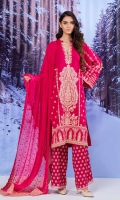 Embroidered Rayon Viscose Shirt With Embroidered Chantelle Chiffon Dupatta With Embroidered Viscose Trouser