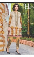 Print & Embroidered Lawn Shirt With Print & Embroidered Lawn Dupatta Plain Cotton Trouser