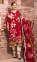 Print & Embroidered Khaddar Shirt With Printed Wool Shawl Plain Khaddar Trouser