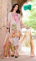 Digital Print & Embroidered Lawn Shirt With Digital Printed Bamber Chikankaari Chiffon Dupatta Plain Cotton Trouser