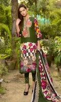 Three Pcs Printed & Embroidered Staple Twill With Staple Twill Dupatta.