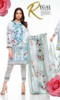 Printed & Embroidered Lawn Shirt With Printed Chiffon Dupatta Plain Cotton Trouser