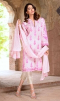 Embroidered Lawn Shirt Embroidered Bamber Chiffon Dupatta Embroidered Cotton Trouser