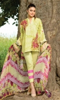Printed & Embroidered Silk Linen Collection 3 Piece Suit Printed Embroidered Silk Linen Shirt Embroidered Chiffon Dupatta