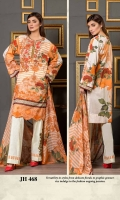 Digital Print & Embroidered Chikankaari Lawn Shirt With Digital Printed Bamber Chiffon Dupatta Plain Cotton Trouser