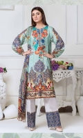 Digital Print Embroidered Lawn Shirt With Digital Printed Bamber Chiffon Dupatta Plain Cotton Trouser