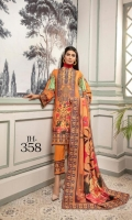 Digital Printed & Embroidered Slub Linen Shirt With Digital Printed Dupatta With Plain Trouser