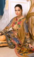 Print & Embroidered Lawn Shirt With Print & Embroidered Bamber Chiffon Dupatta Plain Cotton Trouser