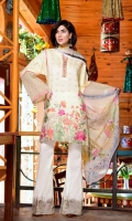 Embroidered Chikankaari Lawn Shirt With Digital Printed Bamber Chiffon Dupatta Embroidered Cotton Trouser