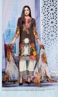 Digital Print & Embroidered Lawn Shirt With Digital Print & Embroidered Bamber Chiffon Dupatta Plain Cotton Trouser