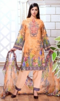 Digital Print & Embroidered Slub Lawn Shirt With Digital Printed & Embroidered Bamber Chiffon Dupatta Plain Cotton Trouser