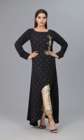Black Jorjet with Antique bunch and Antique Embellishments, Curved cut from front and cuff sleeves