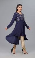Navy Blue Jorjet Fabric with Mirror work Embellishments on body and Samosa lace finishing on body and sleeves