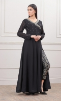 Black Jorjet Gown with one side slid open and hand embellishment work on the body and sleeves
