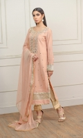 Material: Tea Pink Khaddi net Shirt with Neck Gota work and body Sitaara Embellishments with embroidered sleeves and daaman and finishing with all running Samosa lace