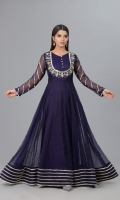 Navy Blue Khaddi frock with front body mirror work embellishment and sitaara work on sleeves finished daaman with multiple layers of samosa lace.