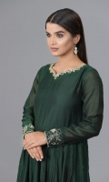 Kai Green frock with beautiful neck and sleeves handwork