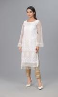 White Khaddi Net shirt with Indian Zarii Embroidery