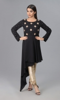 Black Jorjet Cut shirt with embellishments on front body and sleeves.