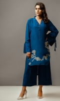 Pure Crepe Silk Round hi and lo shirt with embroidery on daaman with bow tie sleeves; with culottes