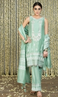 Mint Green Cotton Silk A-Line Shirt with block printed border and bootis on the front and back with embroidered and embellished in gota.