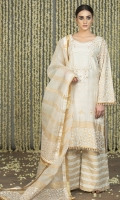 Ivory Cotton Silk with block printed border, sleeves and back and embroidered neckline, embellished in gota.