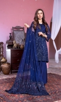 Chiffon Embroidered Shirt Front 1.25 Mtr Chiffon Embroidered Shirt Back 1.25 Mtr Chiffon Embroidered Sleeves 0.5 Mtr Chiffon Embroidered Dupatta 2.5 Mtr Raw Silk Trouser 2.5 Mtr Inner 2 Yard Embroidered Lace 1 Pcs