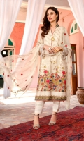 Chiffon Embroidered Shirt Front 1.25 Mtr Chiffon Embroidered Shirt Back 1.25 Mtr Chiffon Embroidered Sleeves 0.5 Mtr Chiffon Embroidered Dupatta 2.5 Mtr Raw Silk Trouser 2.5 Mtr Inner 2 Yard Embroidered Lace 2 Mtr