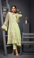 Embroidered Shirt Front 1.75 Mtr Shirt Back 1.25 Mtr Inner 2 Yards Zari Dupatta 2.5 Mtr Raw Silk Trouser 2.5 Mtr
