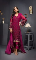 Embroidered Shirt 3 Mtr Inner 2 Yards Embroidered Chiffon Dupatta 2.5 Mtr Raw Silk Trouser 2.5 Mtr Embroirdered Lace 2.5 Mtr