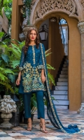 1.25 Mtr Chiffon Embroidered Shirt Front 1.25 Mtr Chiffon Embroidered Shirt Back 0.6 Mtr Chiffon Embroidered Sleeves 2.5 Mtr Chiffon Embroidered Dupatta 2.5 Mtr Raw Silk Trouser 2 Yard Inner