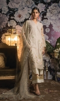 2 Mtr Embroidered Shirt 2.5 Mtr Chiffon Embroidered Dupatta 2.5 Mtr Printed Trouser 1 Yard Embroidered Trouser lACE 2 Yard Daman And Sleeves Lace 1 Yard Embroidered Front Lace