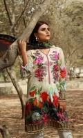 Digital PrintedLawn Shirt Front 1.25 meter Digital PrintedLawn Shirt Back 1.25 meter Digital PrintedLawn Slevees 0.65 meter Digital PrintedLawn Dupatta 2.50 meter Embroided Bunch On Organza
