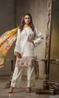 Lawn Embroided Shirt Front 1.25 meter Printed Paste Lawn Shirt Back 1.25 meter Lawn Embroided Slevees 0.65 meter White paste Lawn Trouser 2.50 meter Digital Printed Silk Dupatta 2.50 meter 02 Embroidery Border On Organza