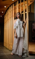 Organza Jacquard Shirt Front 1.25 meter Organza Jacquard Shirt Back 1.25 meter Organza Jacquard Slevees 0.65 meter Dyed Lawn Trouser 2.50 meter Poly Net Embroided Dupatta 2.50 meter Embroidery Border On Organza Embroidery BUNCH On Organza