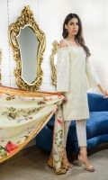 ChikanKari Lawn Shirt Front 1.25 meter Printed Paste Lawn Shirt Back 1.25 meter Printed Paste lawn Slevees 0.65 meter White paste Lawn Trouser 2.50 meter Digital Printed Silk Dupatta 2.50 meter 1.5 Mtr Embroidery Border On fabric