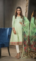 Lawn Embroided Shirt Front 1.25 meter Lawn Embroided Shirt Back 1.25 meter Lawn Embroided Slevees 0.65 meter Dyed Lawn Trouser 2.50 meter Digital Printed Poly Net Dupatta 2.50 meter Digital Satin Silk Border 1.50 meter Embroidery Border On Organza